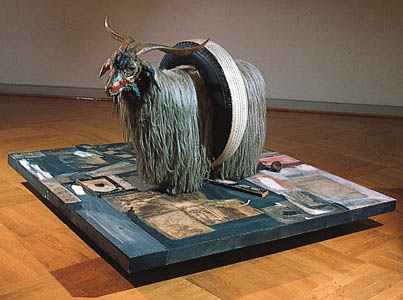 One of Robert Rauschenberg's most famous assemblages of found objects.